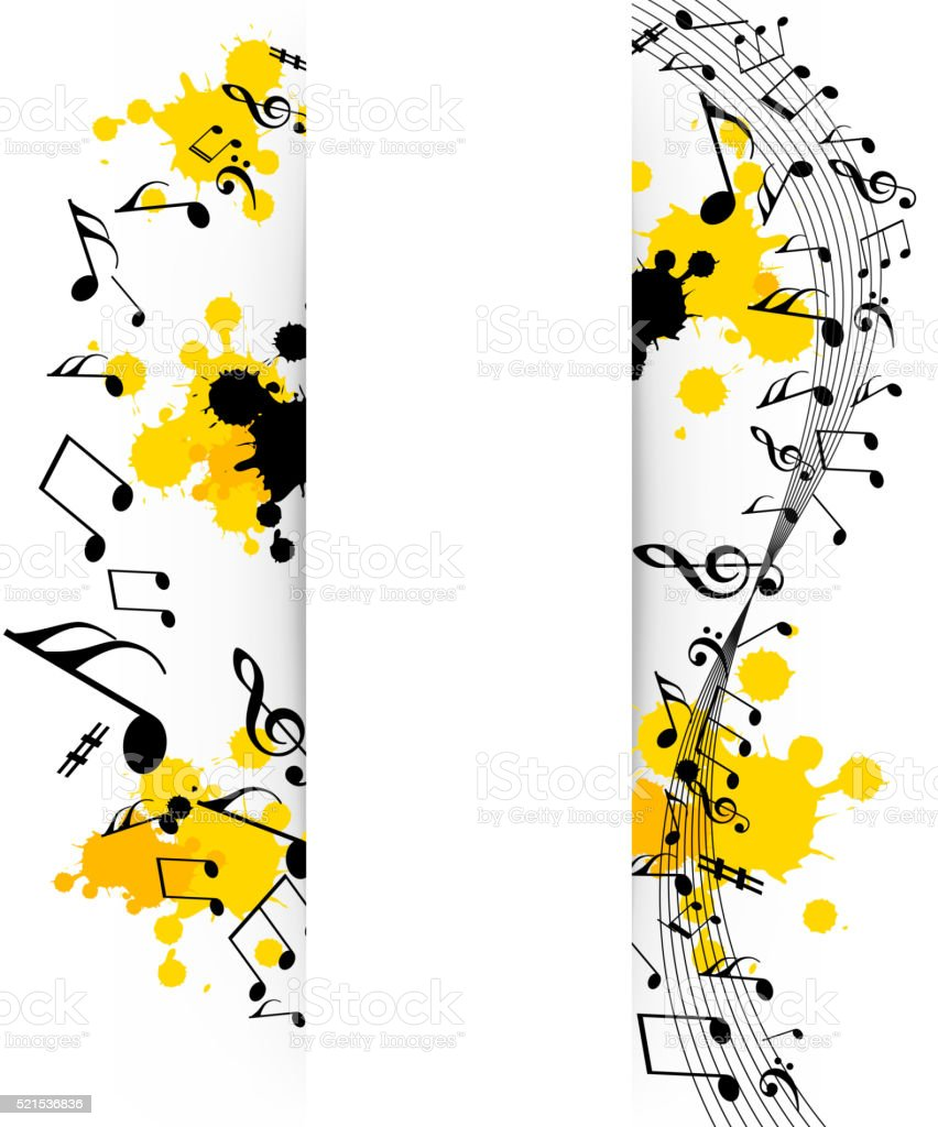 Abstract musical background with notes vector art illustration