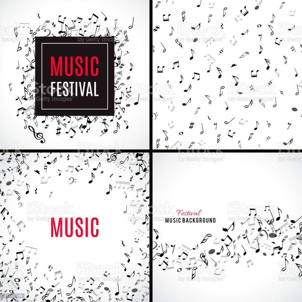 Abstract musical seamless pattern with black notes on white background. vector art illustration