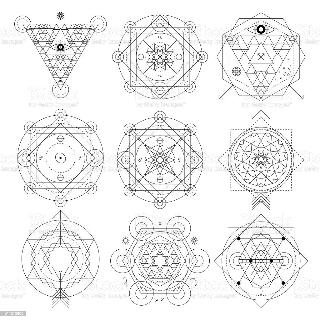 Abstract mystical geometry symbol set. Linear alchemy, occult, philosophical signs. vector art illustration