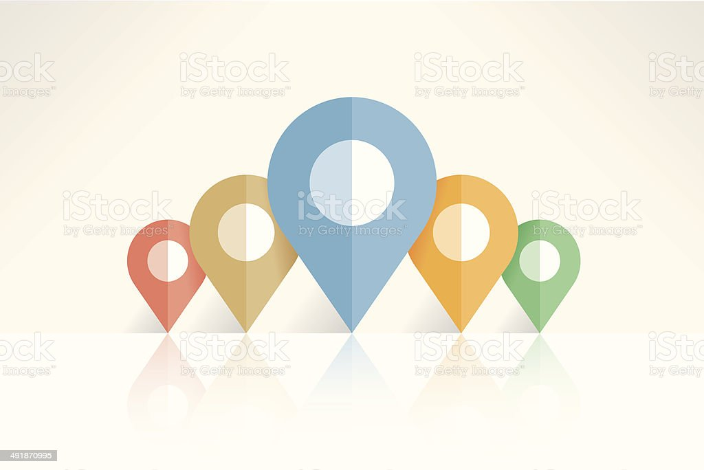 Abstract navigation map pin pointers with reflection vector art illustration