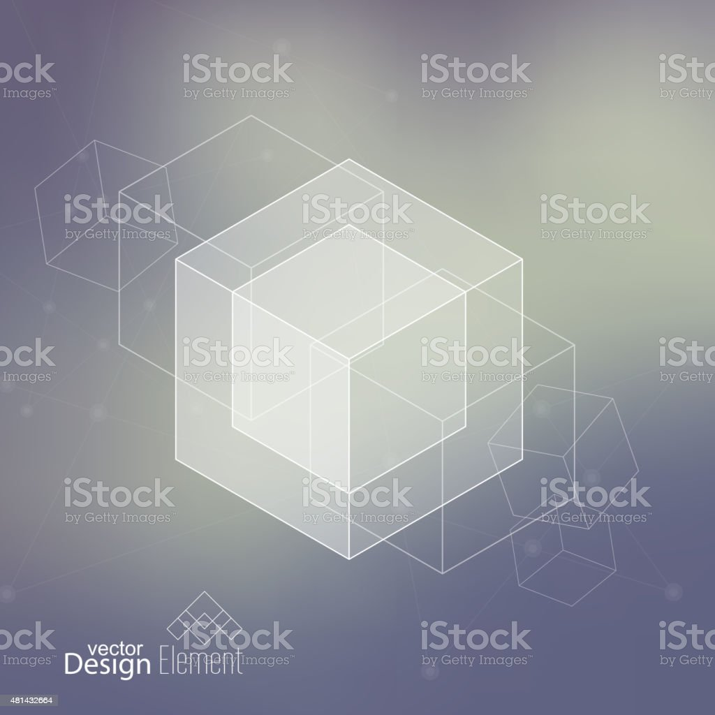 Abstract neat Blurred Background with transparent cubes vector art illustration