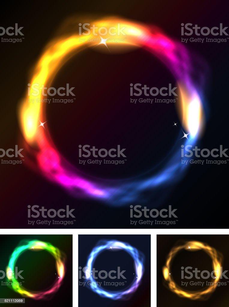Abstract Neon Circles Or Galaxy Ring vector art illustration