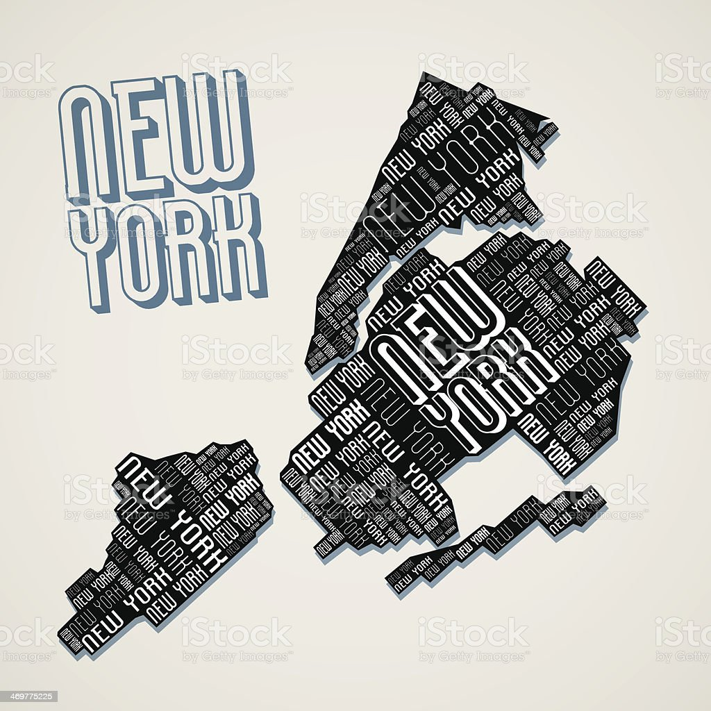 Abstract New York City Map from Letters vector art illustration