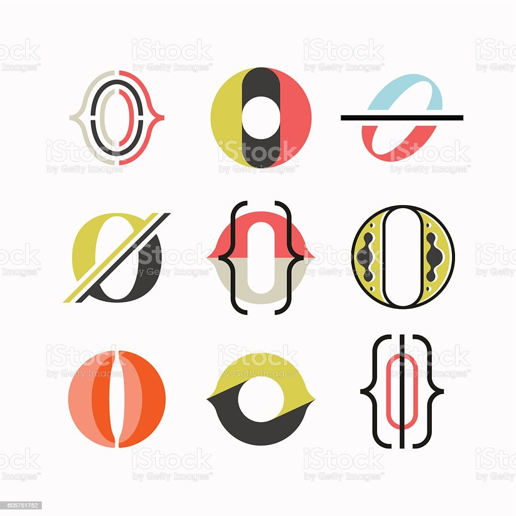 Abstract O letter symbols vector art illustration