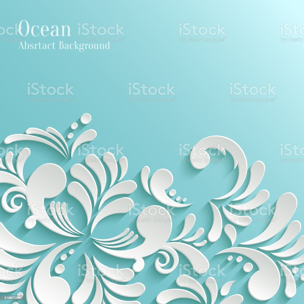 Abstract Ocean Background with 3d Floral Pattern vector art illustration