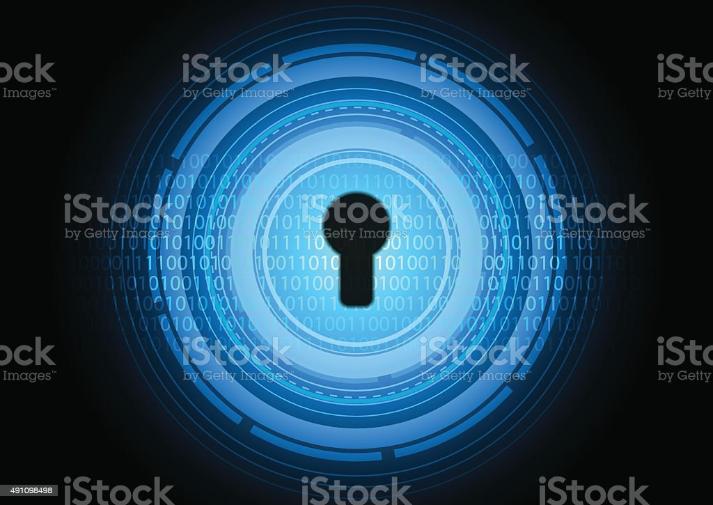 Abstract of binary data protected by the security system vector art illustration