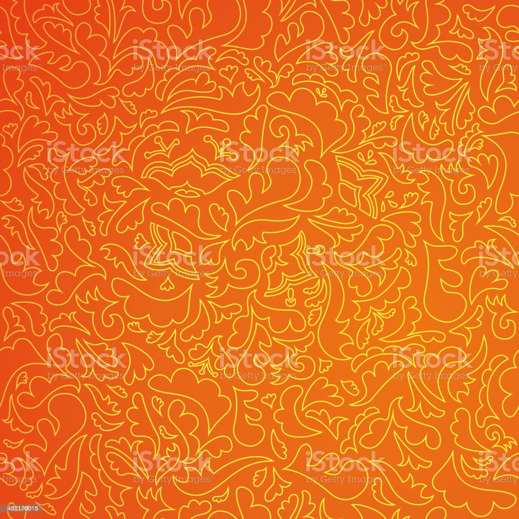 Abstract orange pattern with floral background royalty-free stock vector art
