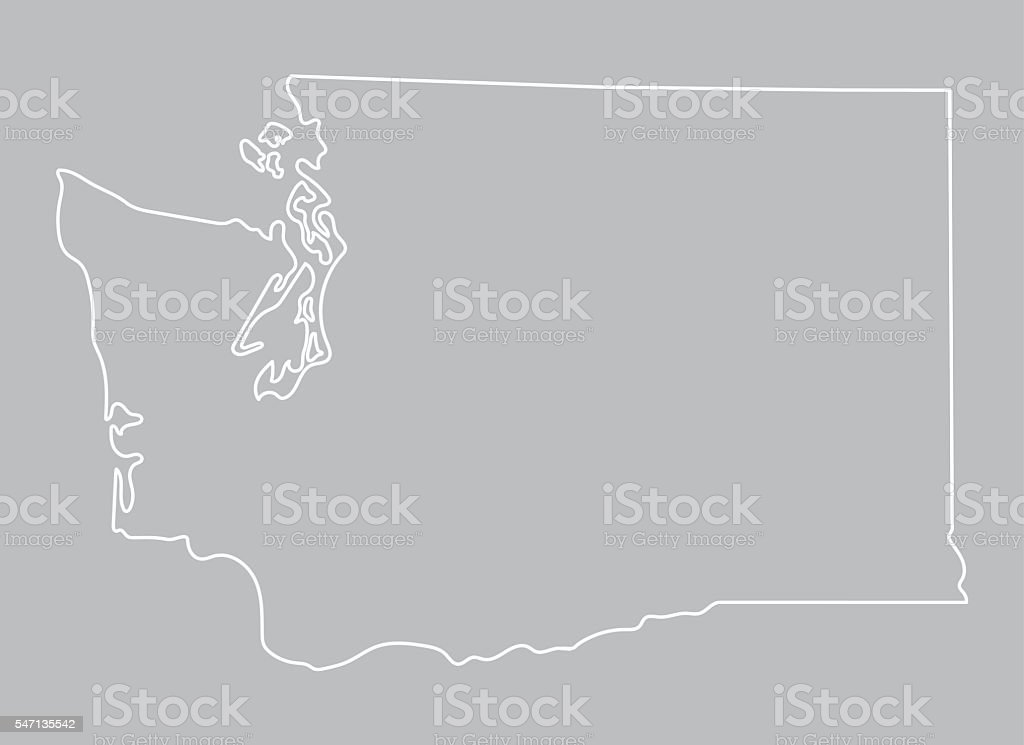 abstract outline of Washington map vector art illustration
