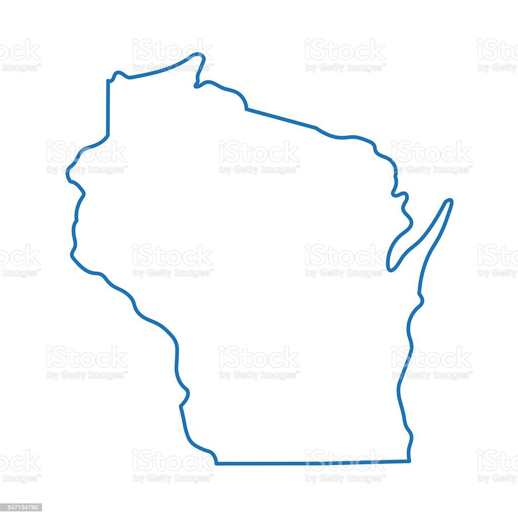 abstract outline of Wisconsin map vector art illustration
