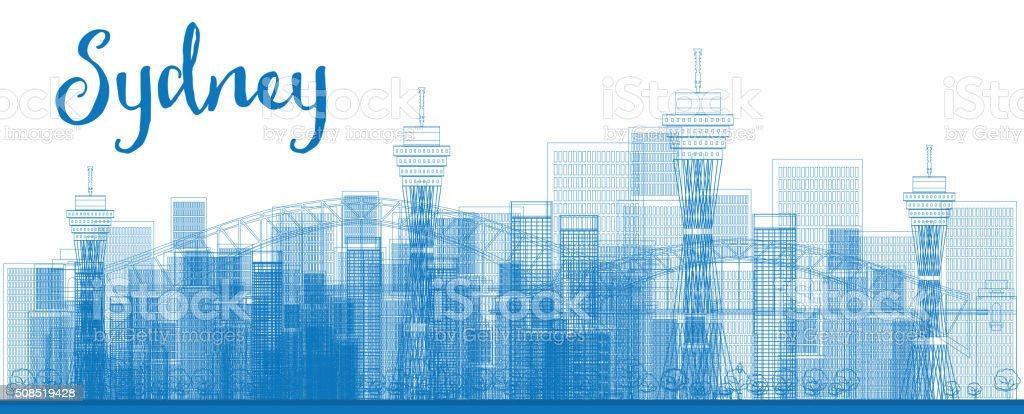 Abstract Outline Sydney City skyline with skyscrapers. vector art illustration