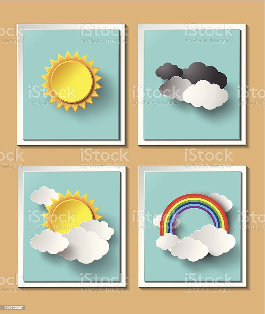 Abstract paper weather with sun and cloud motif royalty-free stock vector art
