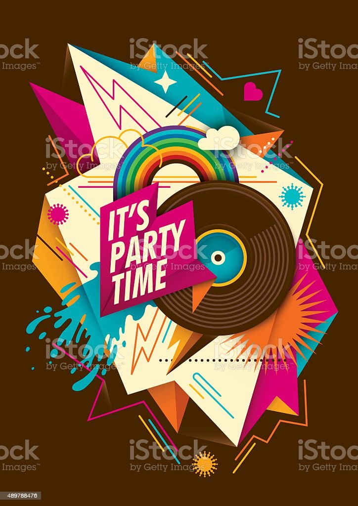 Abstract party background with vinyl. vector art illustration