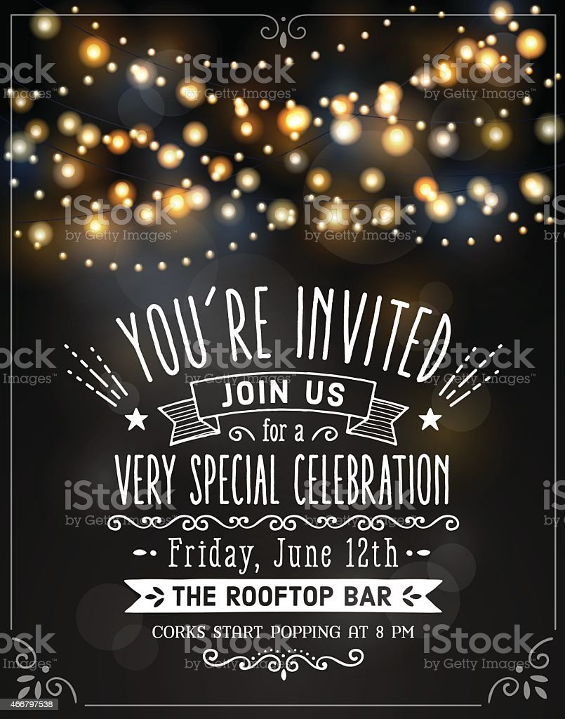 Abstract Party Lights Invitation vector art illustration