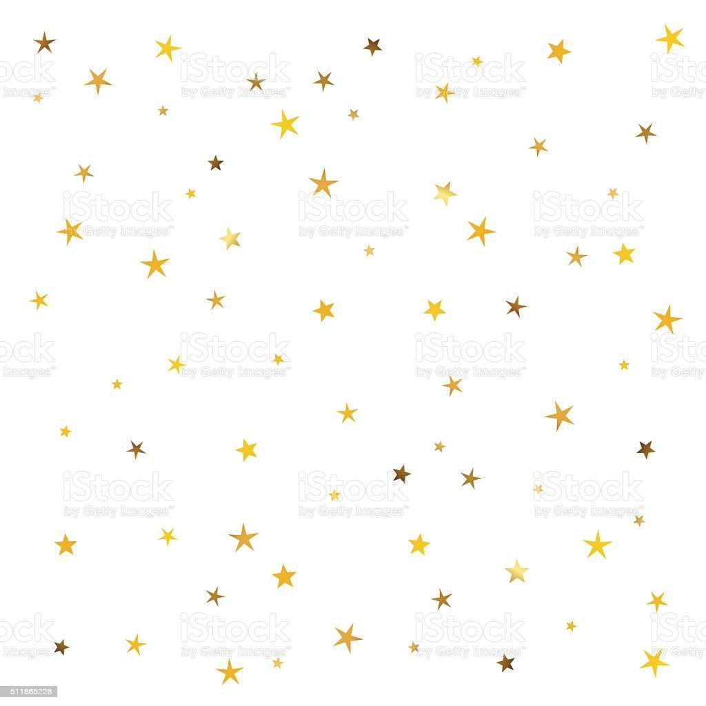 Abstract pattern of gold stars vector art illustration