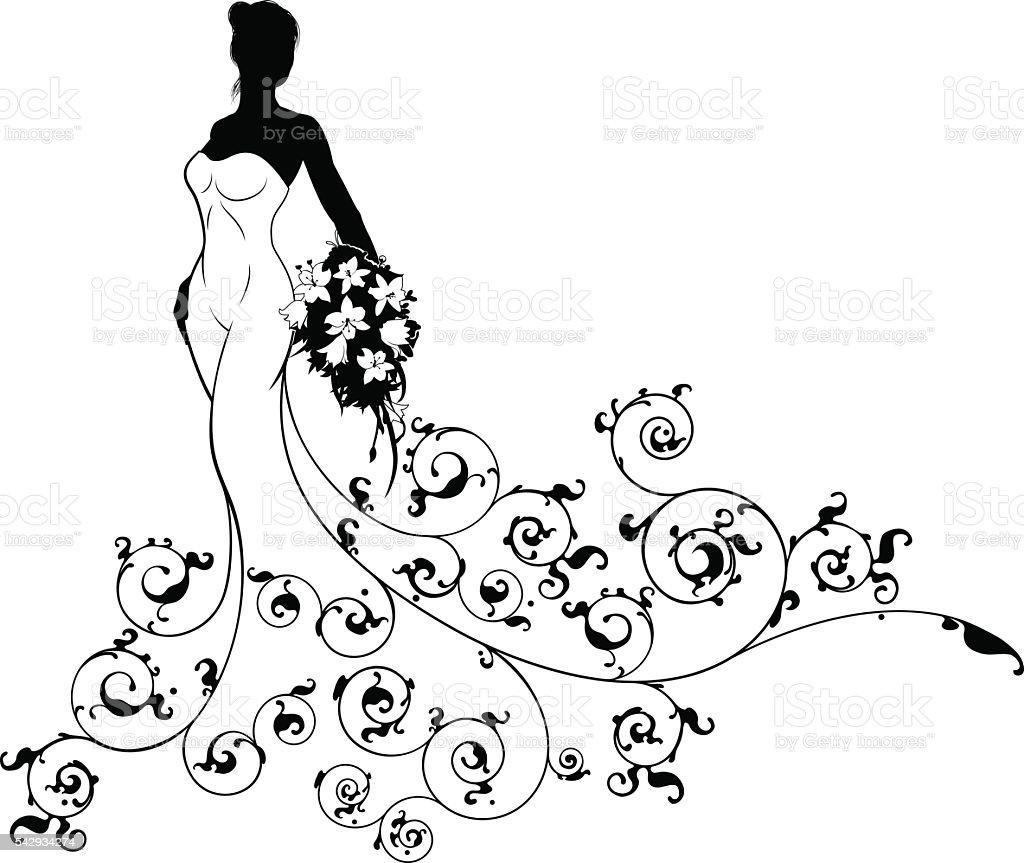 Abstract Pattern Wedding Bride Silhouette vector art illustration