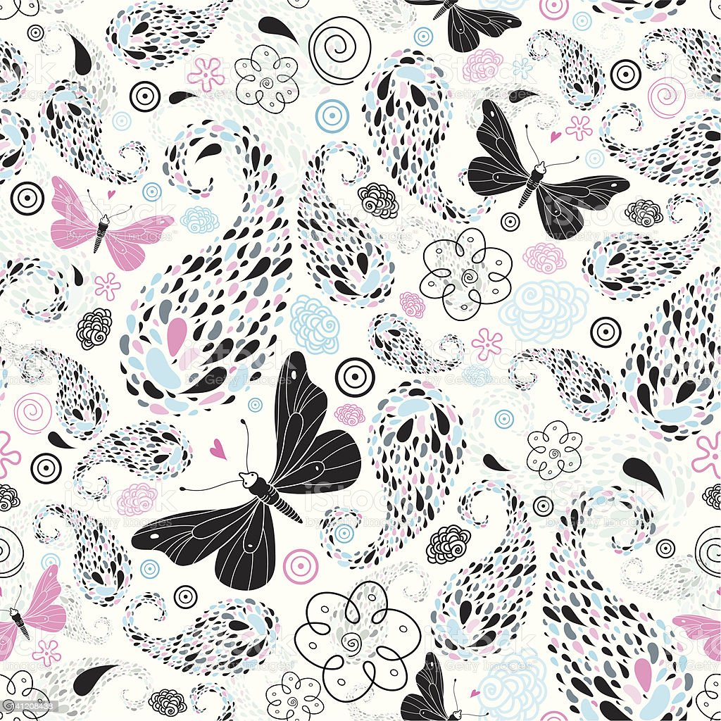 Abstract pattern with butterflies royalty-free stock vector art