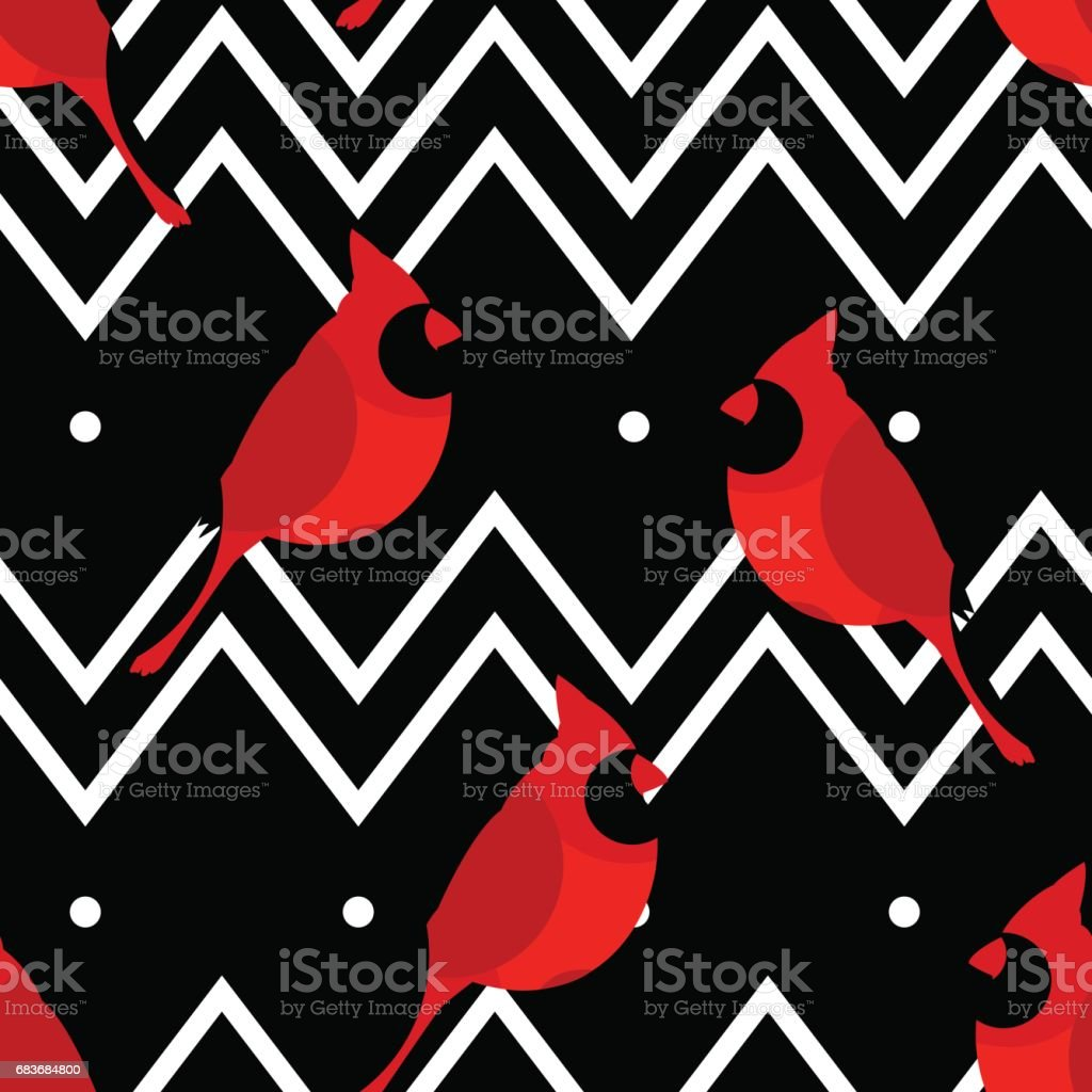 Abstract pattern with red cardinal and line zigzags. Ornament for  textiles and wrapping. Vector vector art illustration