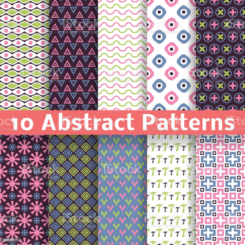 Abstract patterns. Set of vector seamless background royalty-free stock vector art