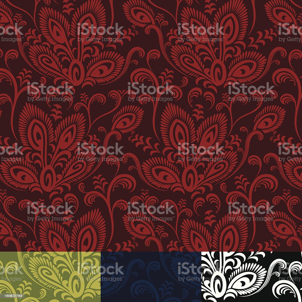 Abstract Peacock Floral Pattern royalty-free stock vector art