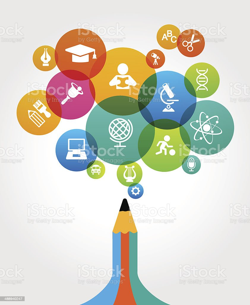 Abstract pencil with education icons vector art illustration
