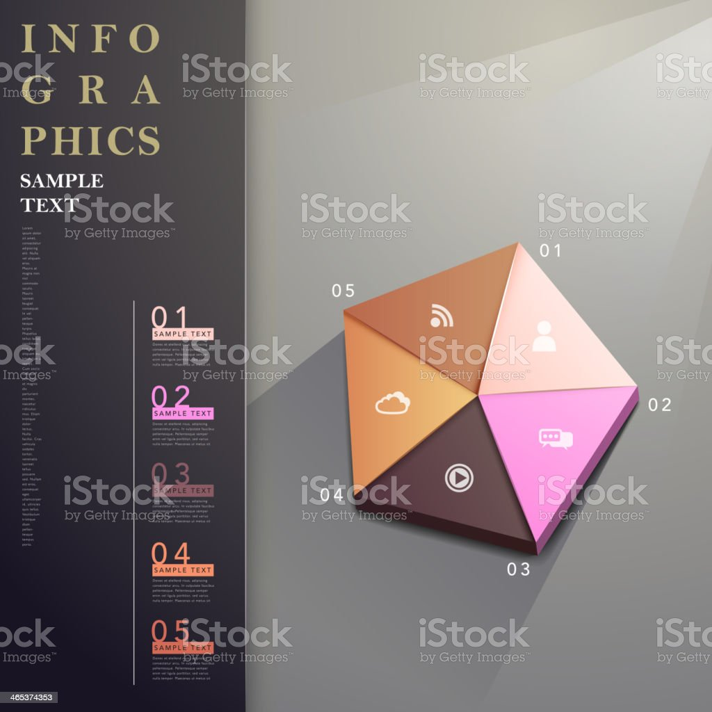 abstract pentagon chart infographics vector art illustration
