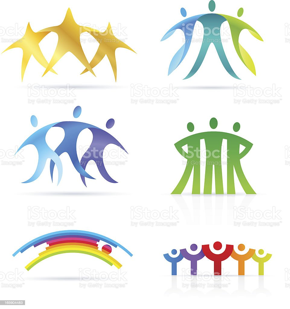 Abstract people bridge vector art illustration