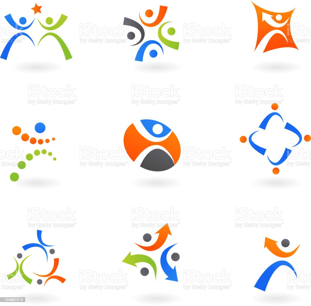 Abstract people icons vector art illustration