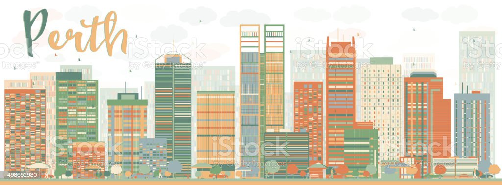 Abstract Perth skyline with Color buildings vector art illustration