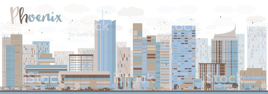 Abstract Phoenix Skyline with Color Buildings vector art illustration