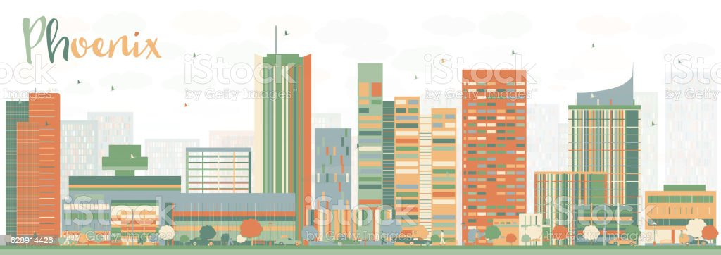 Abstract Phoenix Skyline with Color Buildings. vector art illustration