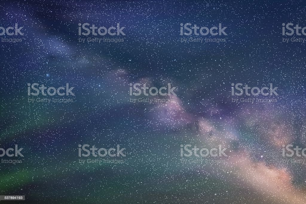 Abstract picture with beautiful starry sky and milky way vector art illustration