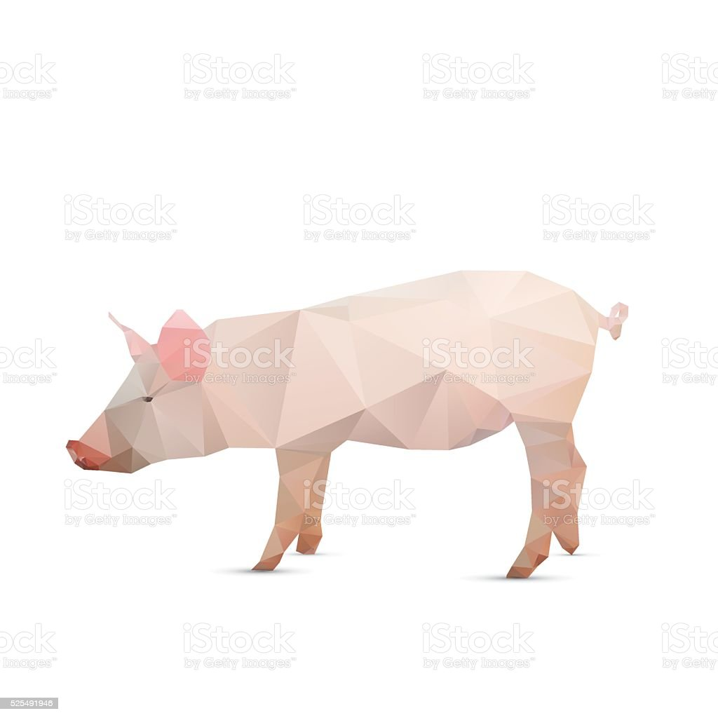 Abstract pig isolated on a white backgrounds, vector illustratio vector art illustration