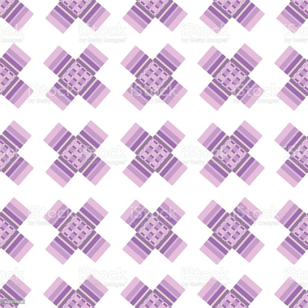 Abstract pink crosses vector seamless pattern on beige backgroun vector art illustration