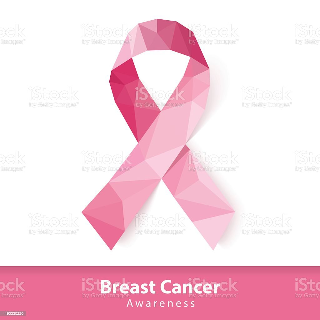 Abstract pink ribbon of breast cancer awareness symbol vector art illustration