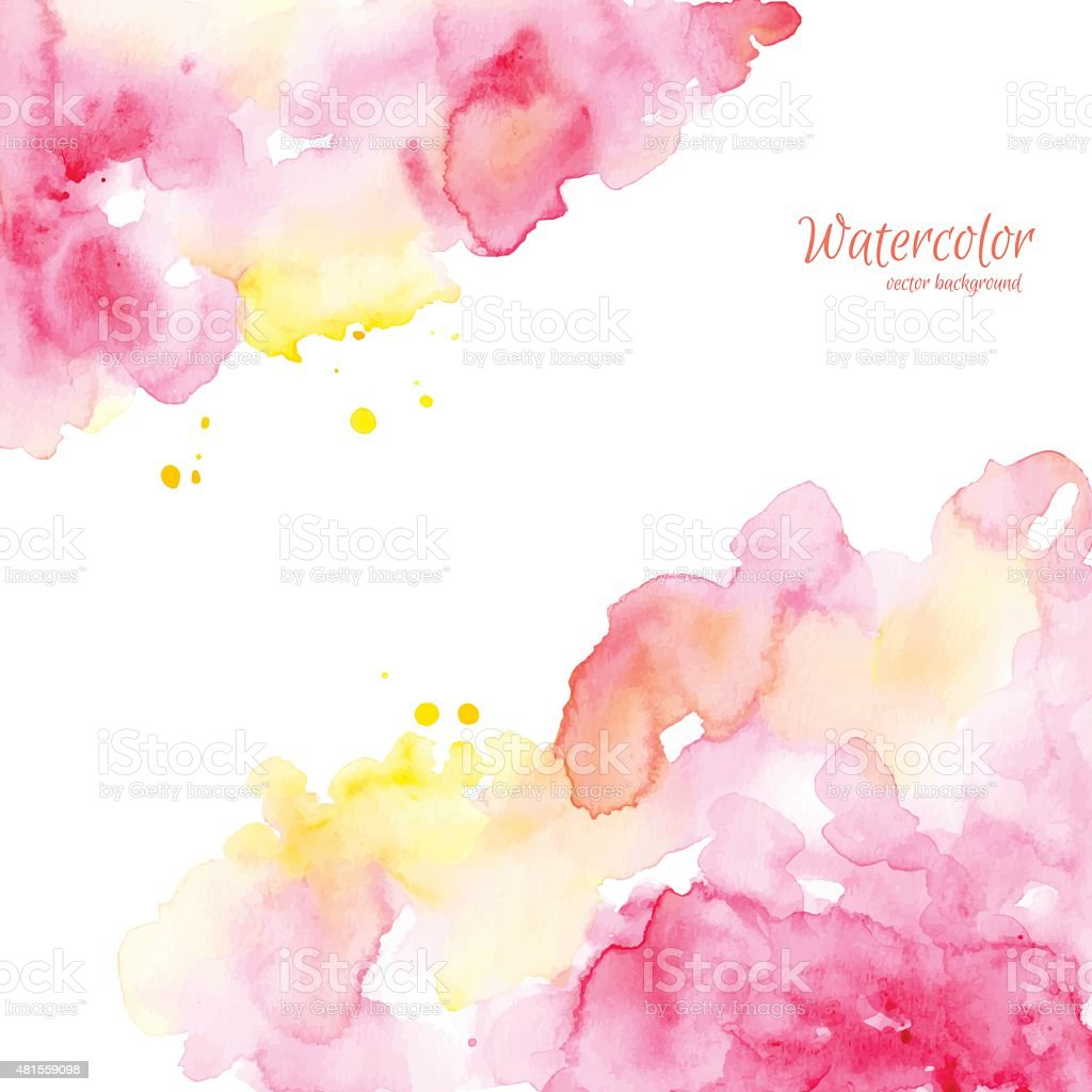Abstract pink yellow hand drawn watercolor background,vector illustration. vector art illustration