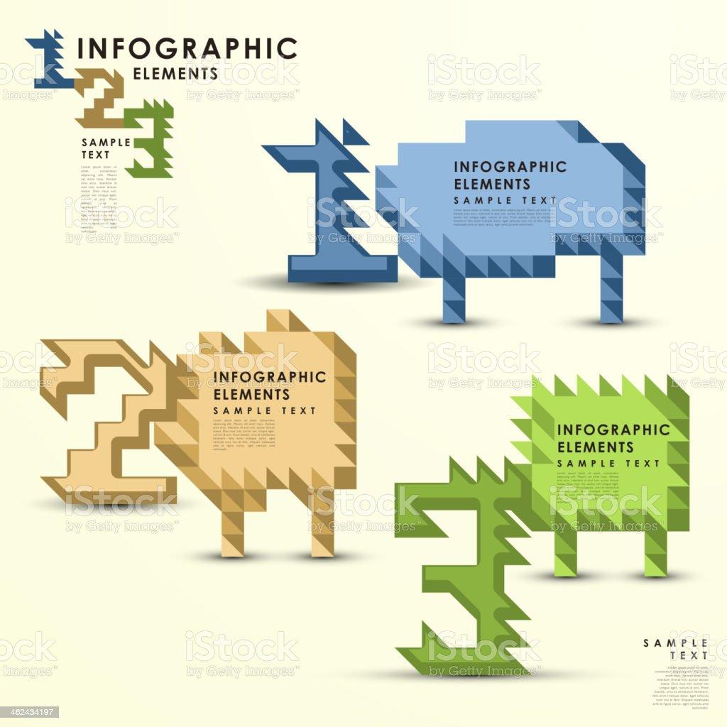 abstract pixel infographics vector art illustration