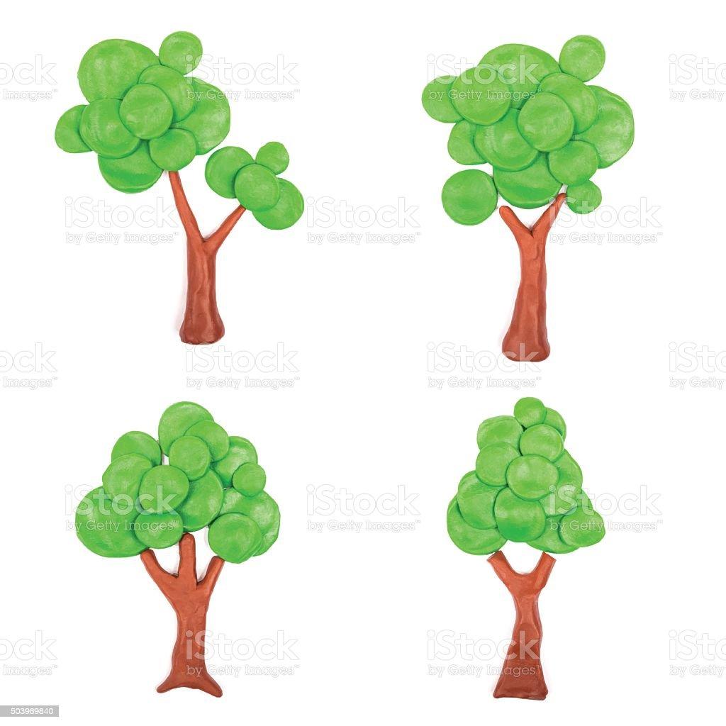 Abstract plasticine trees vector art illustration