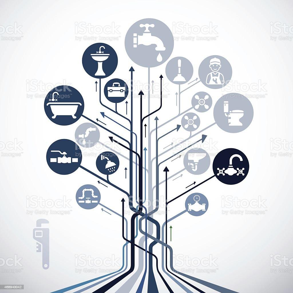 Abstract Plumbing Tree vector art illustration