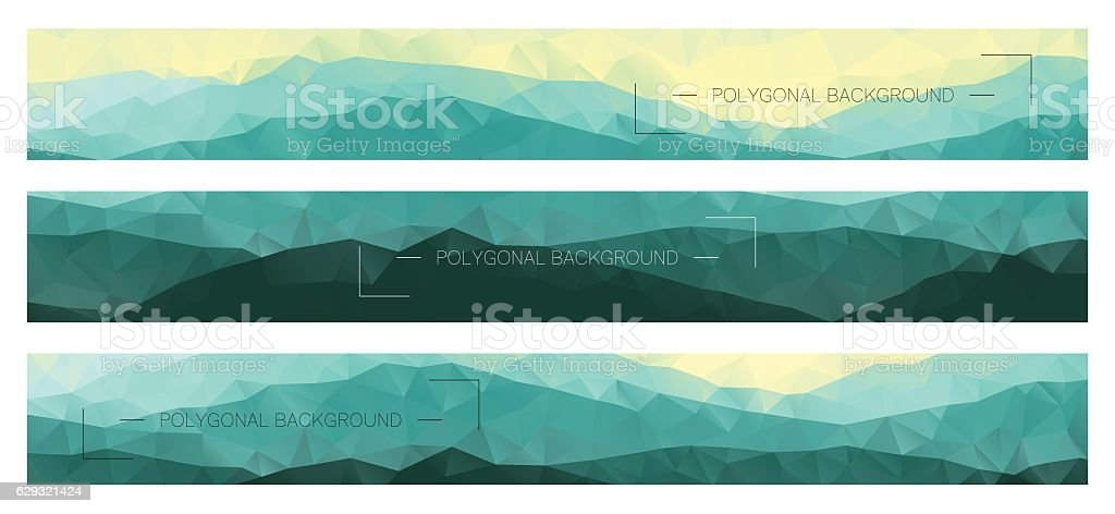 Abstract polygonal banners with mountain ridges vector art illustration