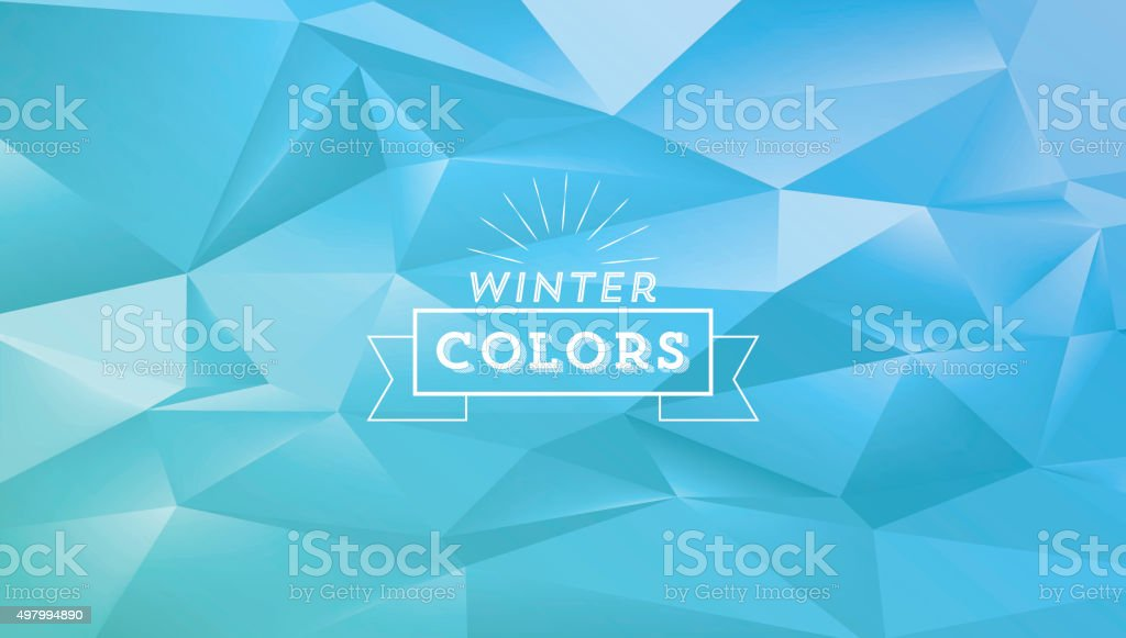 abstract polygonal blue winter background with vintage line sign vector art illustration