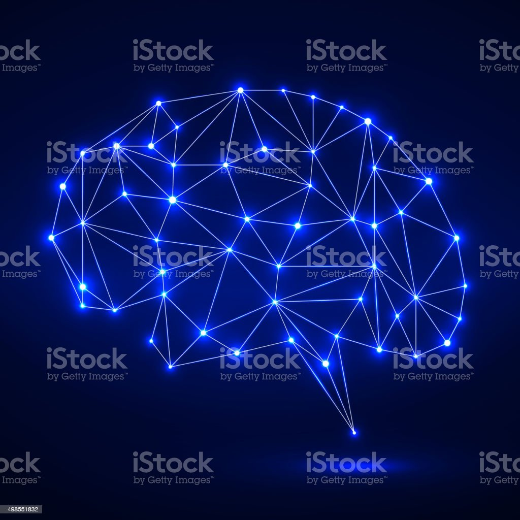 Abstract polygonal brain vector art illustration