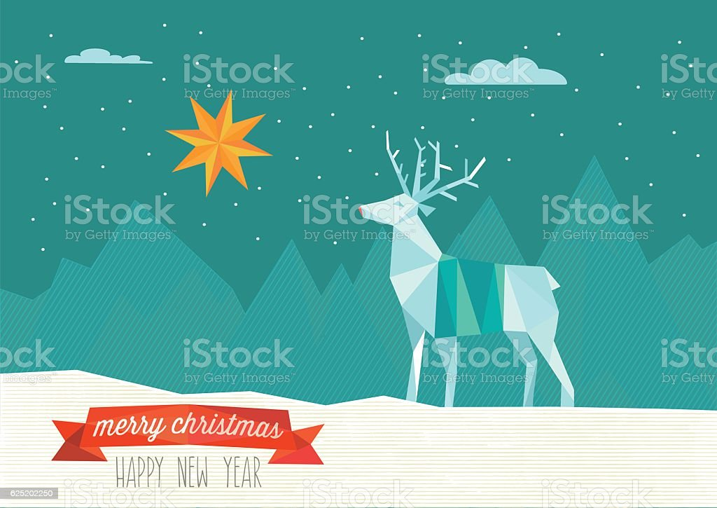 abstract polygonal christmas illustration of reindeer in winter landscape vector art illustration
