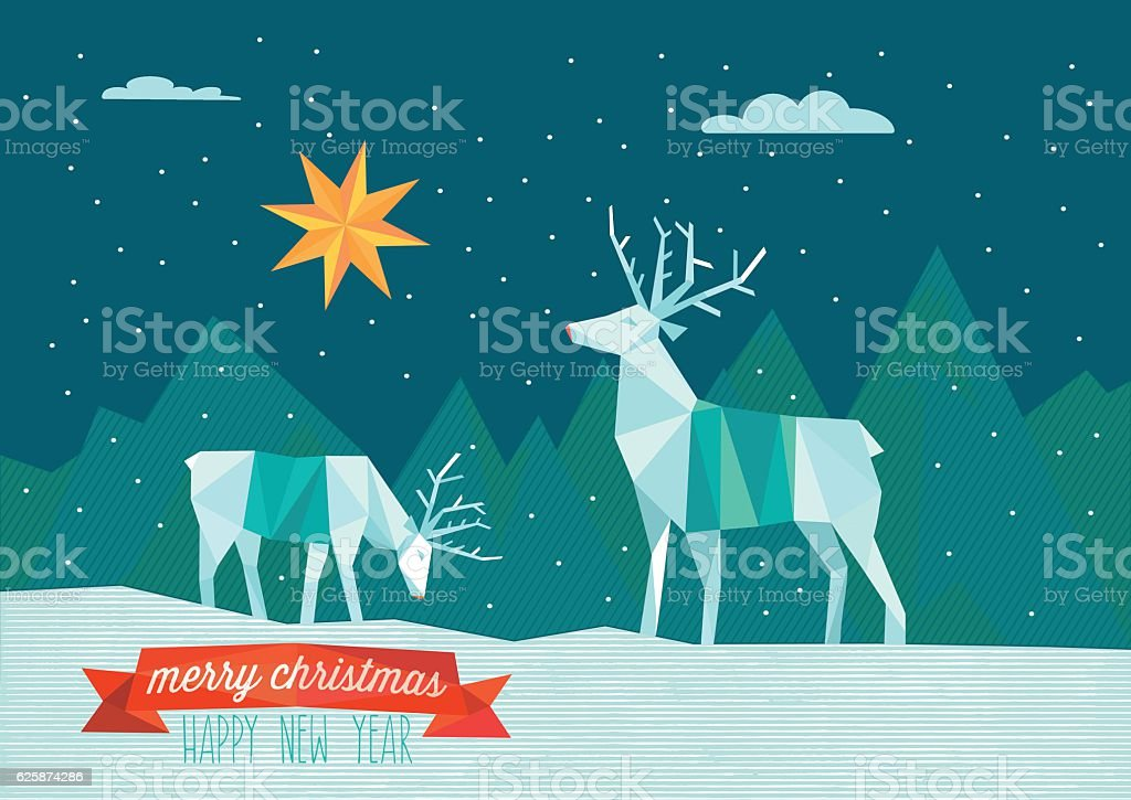 abstract polygonal christmas illustration with reindeers in winter landscape vector art illustration