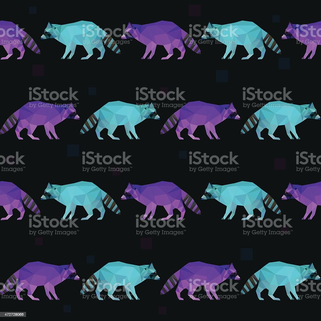 Abstract polygonal geometric triangle purple and blue raccoon seamless pattern vector art illustration