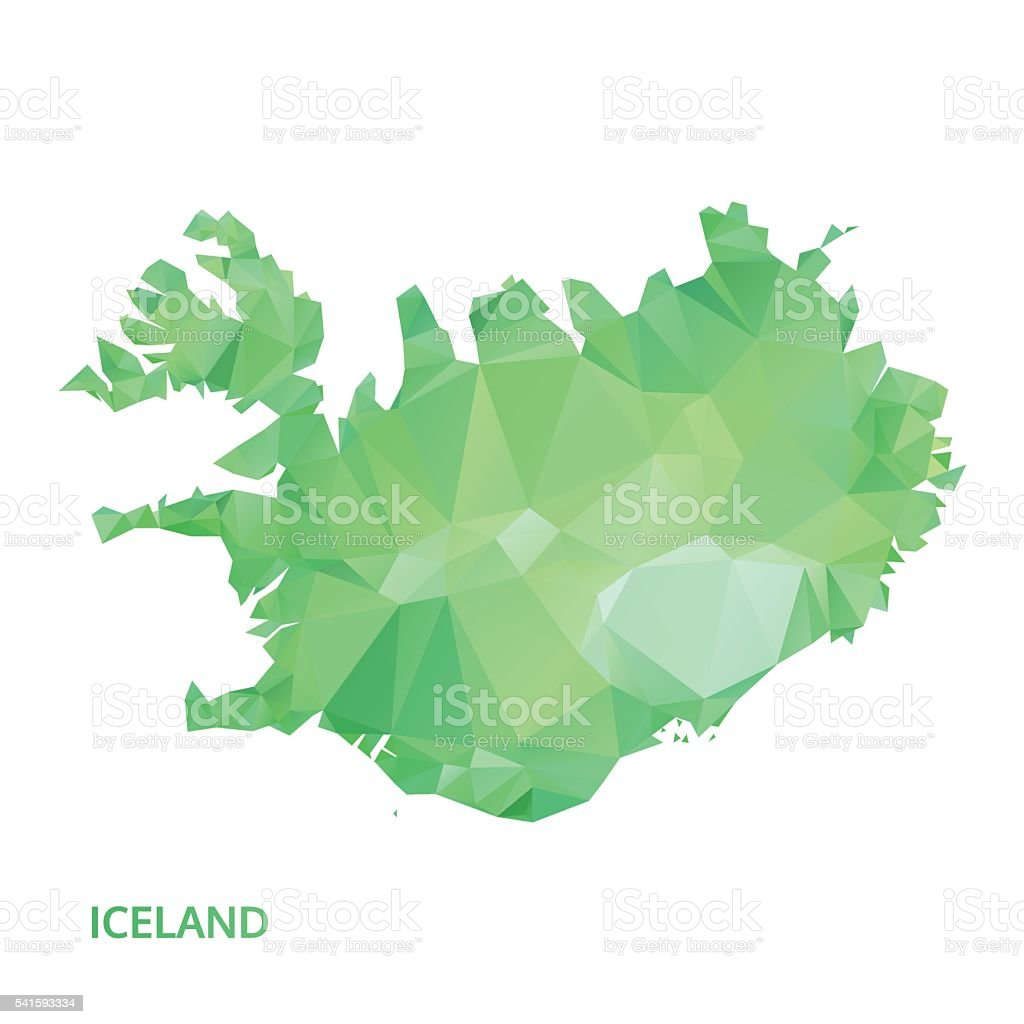 abstract polygonal iceland map. poly low isolated vector. polygon map vector art illustration