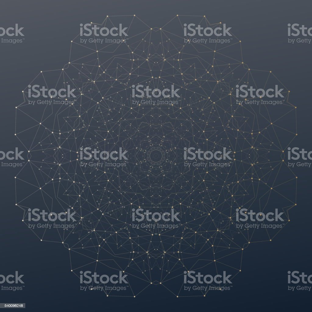 Abstract polygonal low poly backdrop with connecting dots and lines vector art illustration