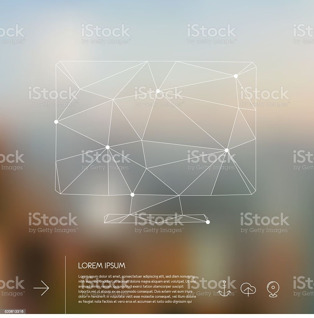 Abstract polygonal monitor vector art illustration