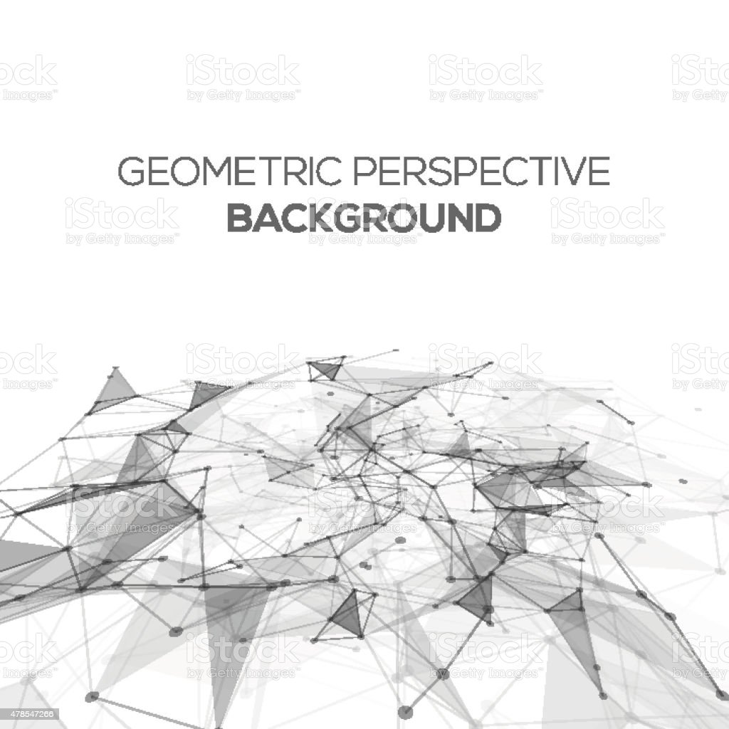 Abstract polygonal perspective low poly background with connecting dots vector art illustration
