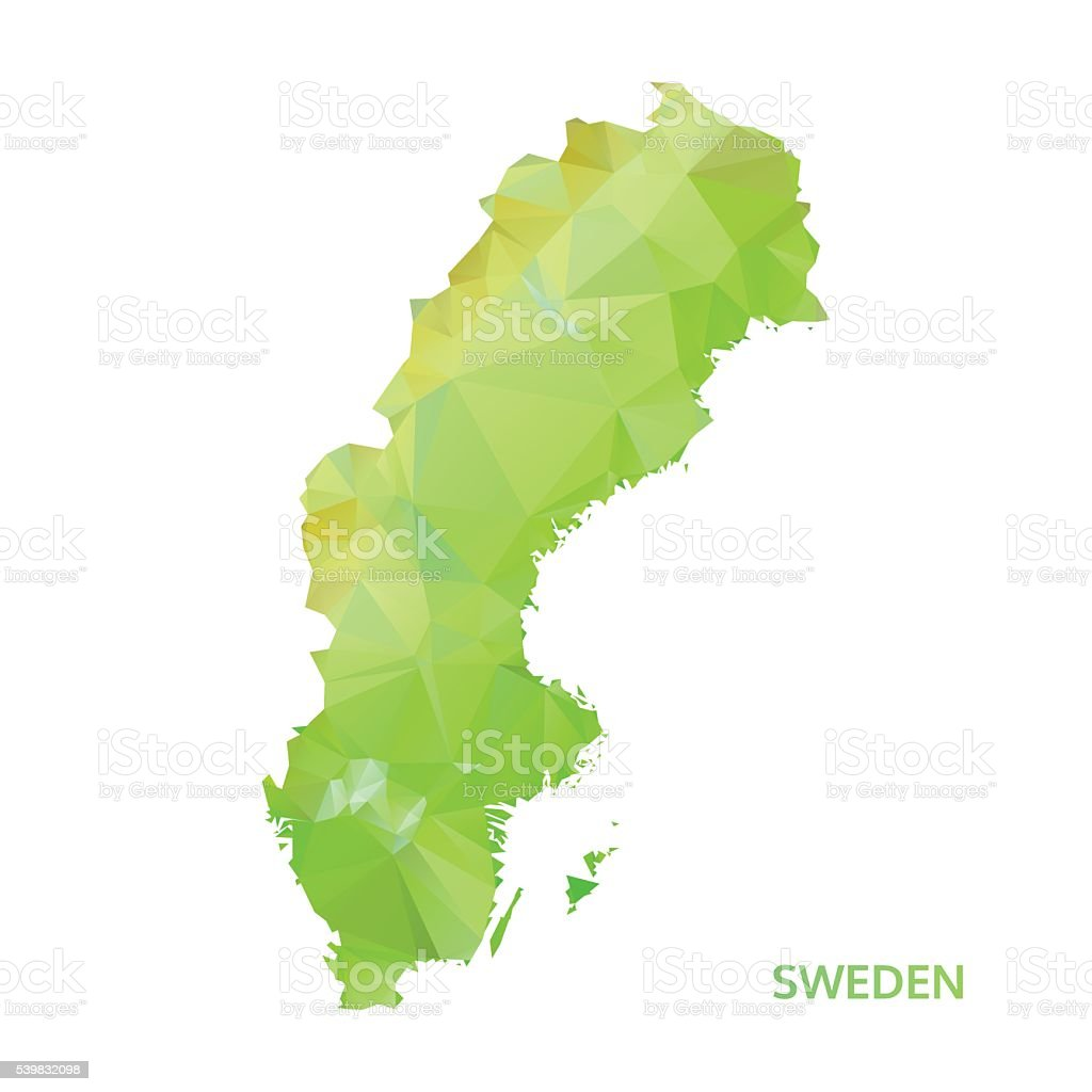 abstract polygonal sweden map. poly low isolated vector. polygon map vector art illustration