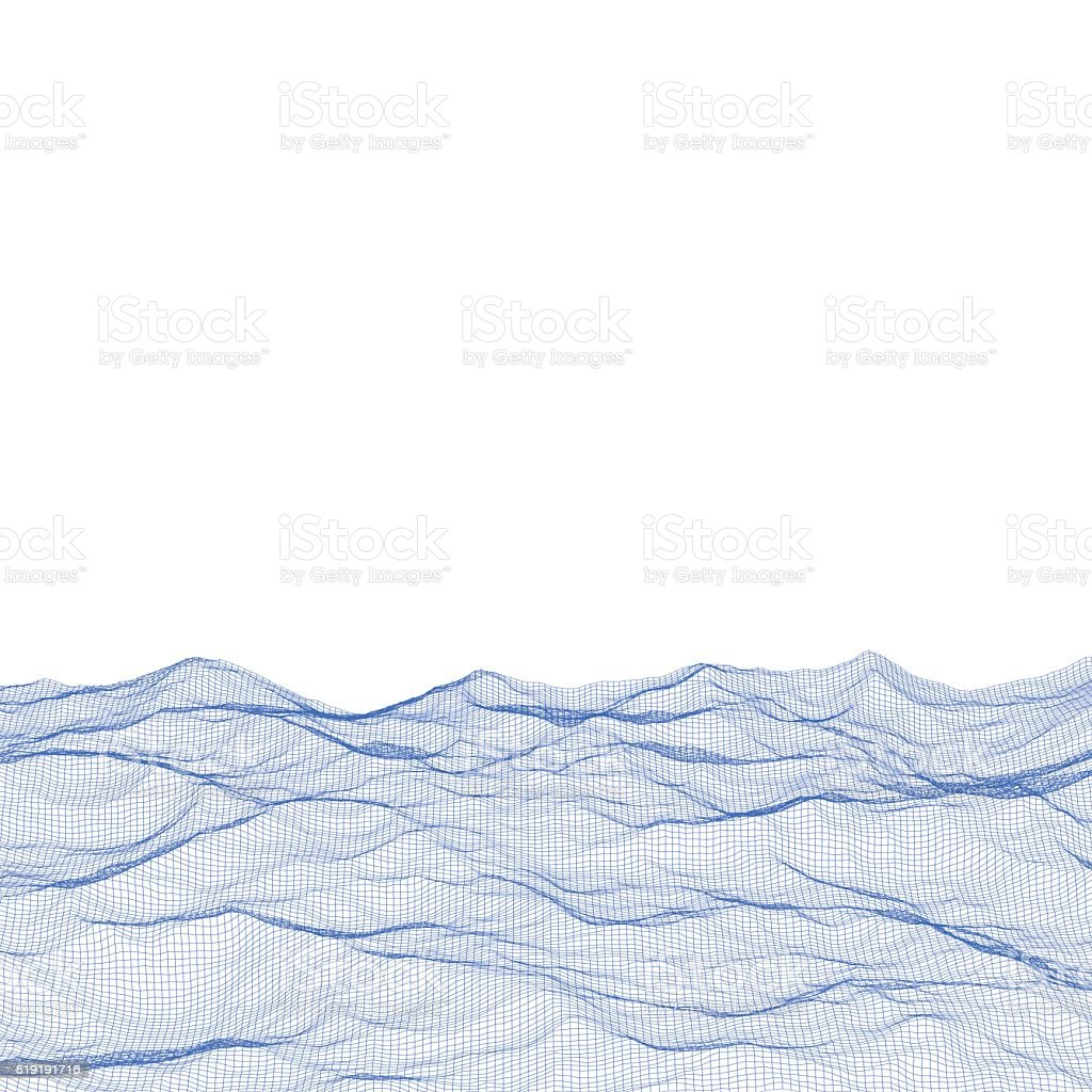 Abstract polygonal wave wireframe background. vector art illustration